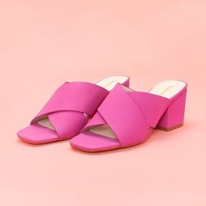 intentionally blank Shoes - Intentionally Blank HUNTER LEATHER HEELS - FUCHSIA